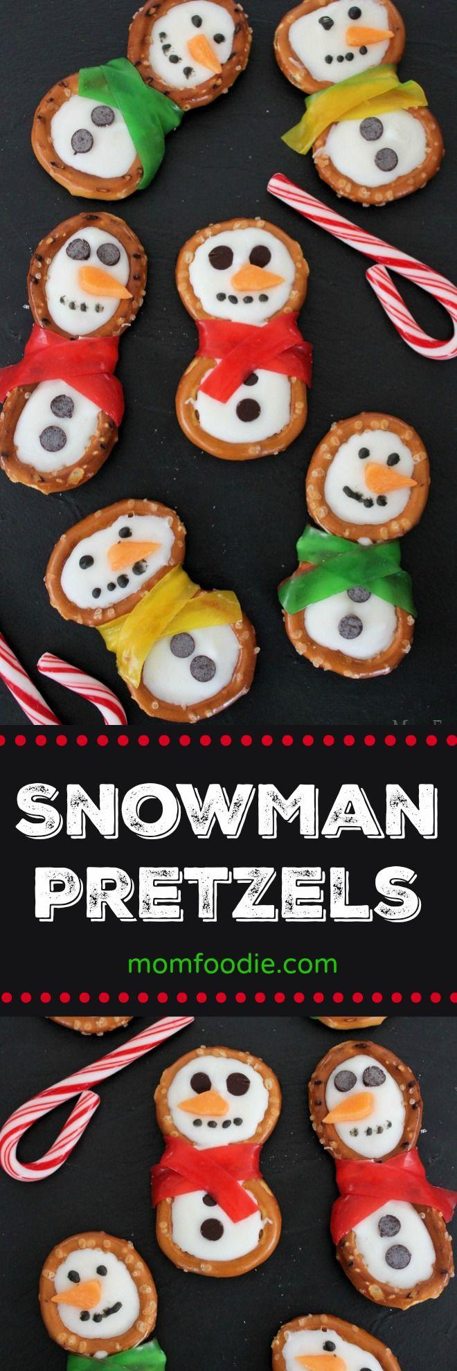 Snowman Pretzel Treats - These little snowman pretzels are cute #Christmas #christmastreats #snowman #DIYchristmasgifts #holidays #pretzels