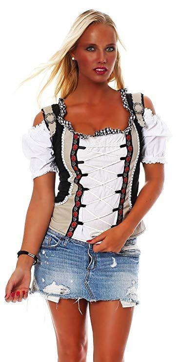 Fashion4Young Damen Dirndlbluse Bluse Trachtenbluse Dirndl Trachten  Oktoberfest Lederhose Trachtenmieder 402421d9f4