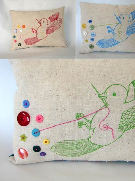 bird sewing on buttons