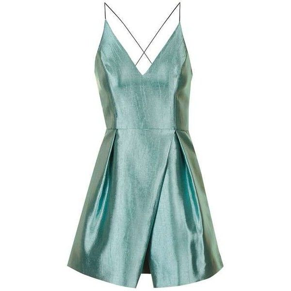 TopShop Crinkle Satin Prom Dress ($140) ❤ liked on Polyvore featuring dresses, topshop, prom dresses, green prom dresses, satin mini dress, mini cocktail dress and plunge-neck dresses
