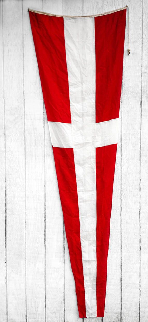 Vintage Nautical Flag Red White Cross Pennate Vintage Nautical Ship Flags Vintage Flag