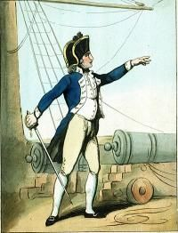 Lieutenant, c. 1799. Midshipmen had to pass an examination to be promoted to the rank of lieutenant, usually around the age of 19. Lieutenants were in charge of deck watches, and in action commanded a gun battery. They were sometimes despatched on shore in ports like London in charge of press gangs. Although landsmen were sometimes taken by mistake or by malice, the gang concentrated their efforts on finding experienced seamen, who were often taken from merchant ships in port at the time.