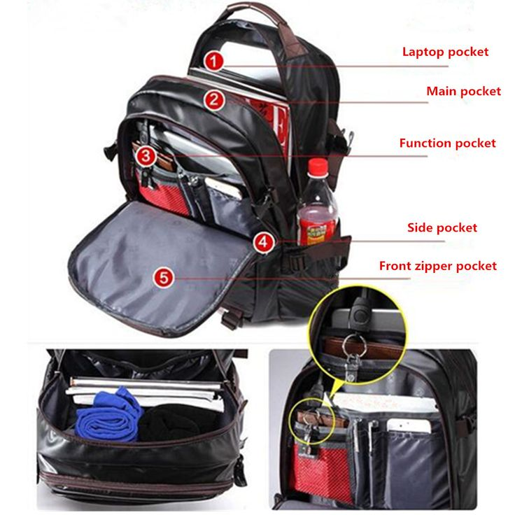 Men PU Leather Functional Backpack Universal Laptop Backpack