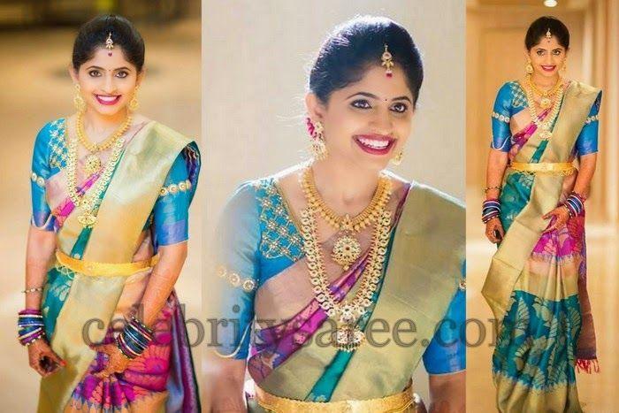 Bride in Multi Colors Wedding Sari | Saree Blouse Patterns