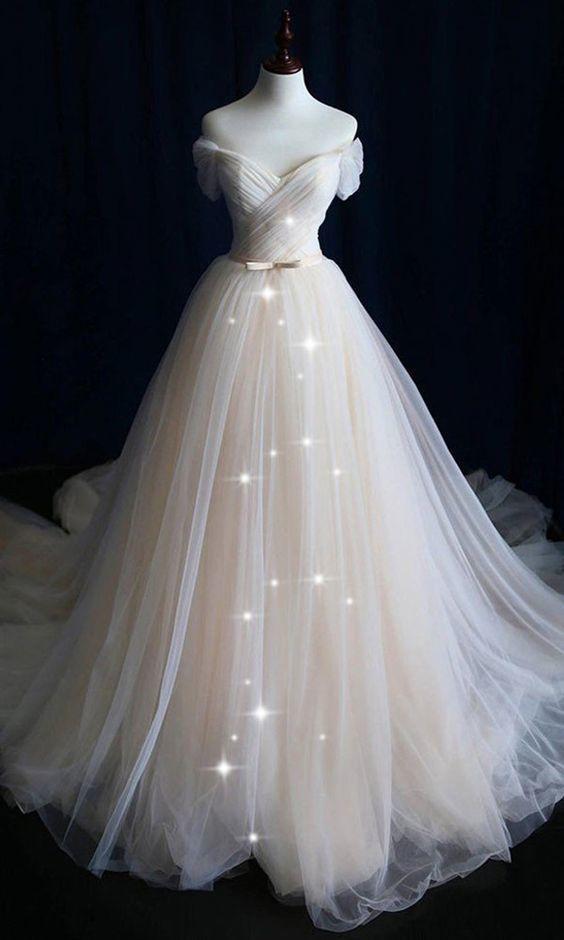 Alluring Tulle Off-the-shoulder Neckline A-line Wedding Dress With Belt