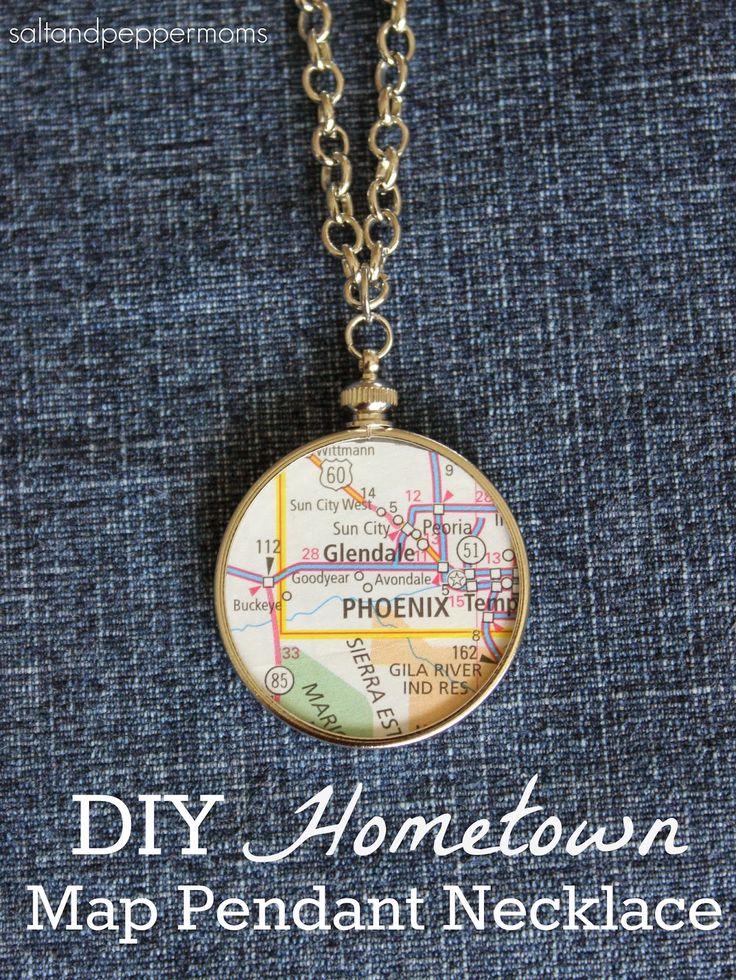DIY Hometown Map Pendant Necklace - Salt and Pepper Moms