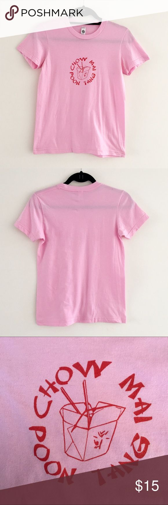American Apparel Pink TShirt Funny and cute pink TShirt by American Apparel. Size M in Classic Girl Fit (which is the junior fit) 100% cotton. In great condition. Gently used. American Apparel Tops Tees - Short Sleeve
