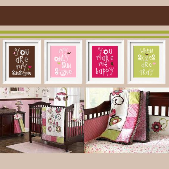 You Are My Sunshine 4 pc Set For Girls Bedroom  8x10 in chocolate, pink, raspberry and lime green For Cocalo's Taffy Bedding by YassisPlace. $59.95, via Etsy.