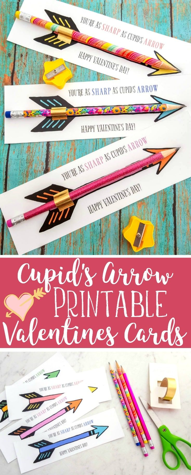 FREE Cupid's Arrow Pencil Printable Valentines Cards #ValentinesDay