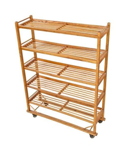 all original and exceptionally well-built solid oak wood american industrial baker's rack with wood dowel shelves
