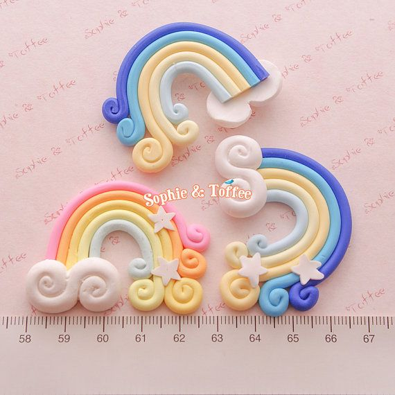 50mm Huge Magical Polymer Clay Rainbow with by SophieToffeeCo