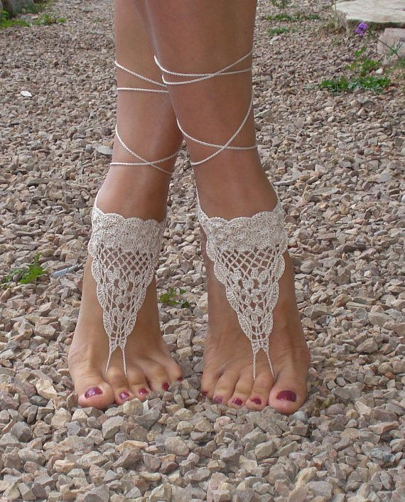 Hand crochet beach style barefoot sandals. Perfect for a beach wedding Handmade. Please allow up to 3 weeks for shipping. Size: One size Color: Beige or White Price is for a set of 2. For multiple ord