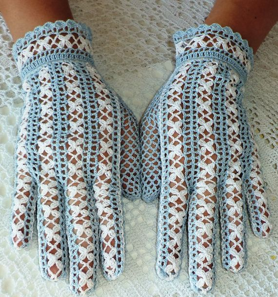 Vintage Style Crochet Lace Flower Gloves  by WillowFairyJewelry, $56.00