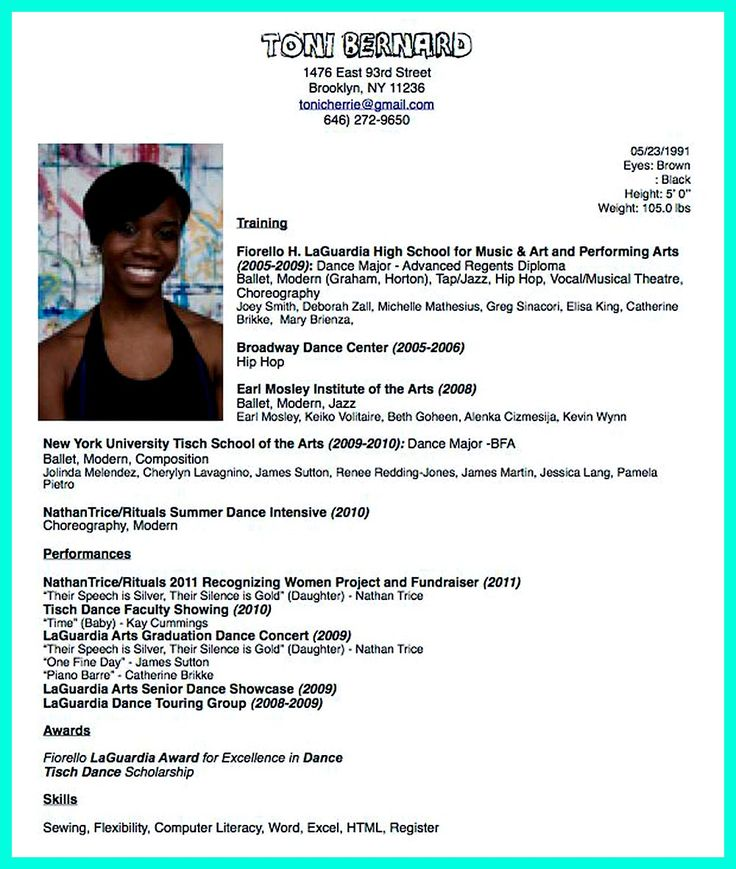 Audition Resume Format. Musical Theatre Resume Sainde Org Drama