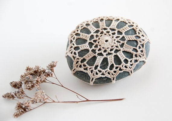 Crochet Lace  Stone // Rustic Beach // Off white by TableTopJewels, $25.00