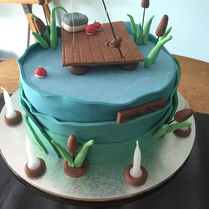 Mens gone fishing cake for a 60th birthday made by treska for Gone fishing cake