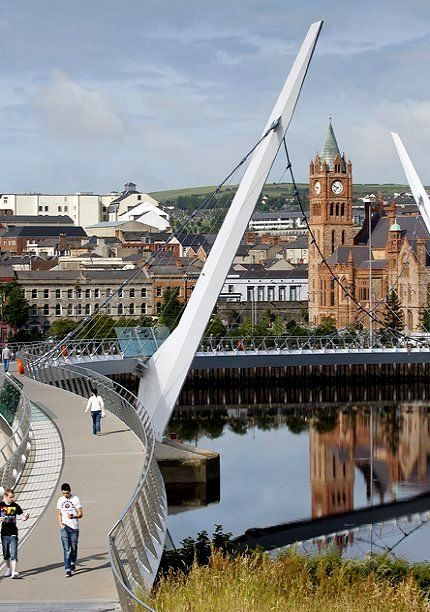 Peace Bridge and Guild Hall - Derry, Northern Ireland