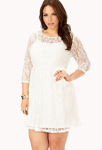 Forever 21 Plus Size White Dress Nurufunicaasl