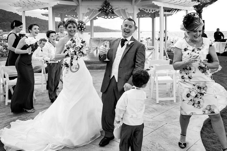 Bride and groom celebrate destination wedding at Moon Palace Jamaica Grande