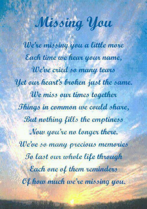 Missing You Poems in Death | Missing you little brother ...