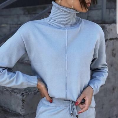 Autumn winter Knitted tracksuit Turtleneck sweatshirts 2 Piece 17
