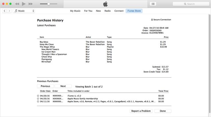 See your purchase history in the App Store or iTunes Store App store - music invoice