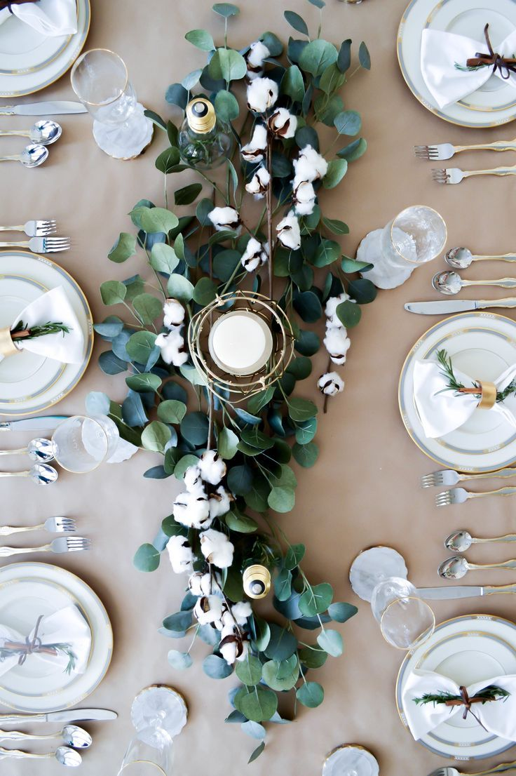 'Tis the season for the prettiest winter tablescapes. Find your inspiration with this simple southern  design featuring gold accents, eucalyptus & cotton as the centerpiece.