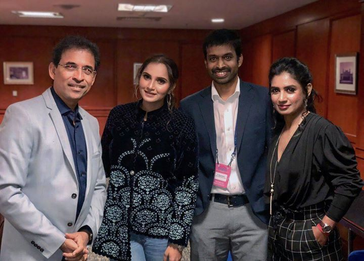 Harsha Bhogle Sania Mirza Pullela Gopichand & Mithali Raj clicked during a recent event - http://ift.tt/1ZZ3e4d