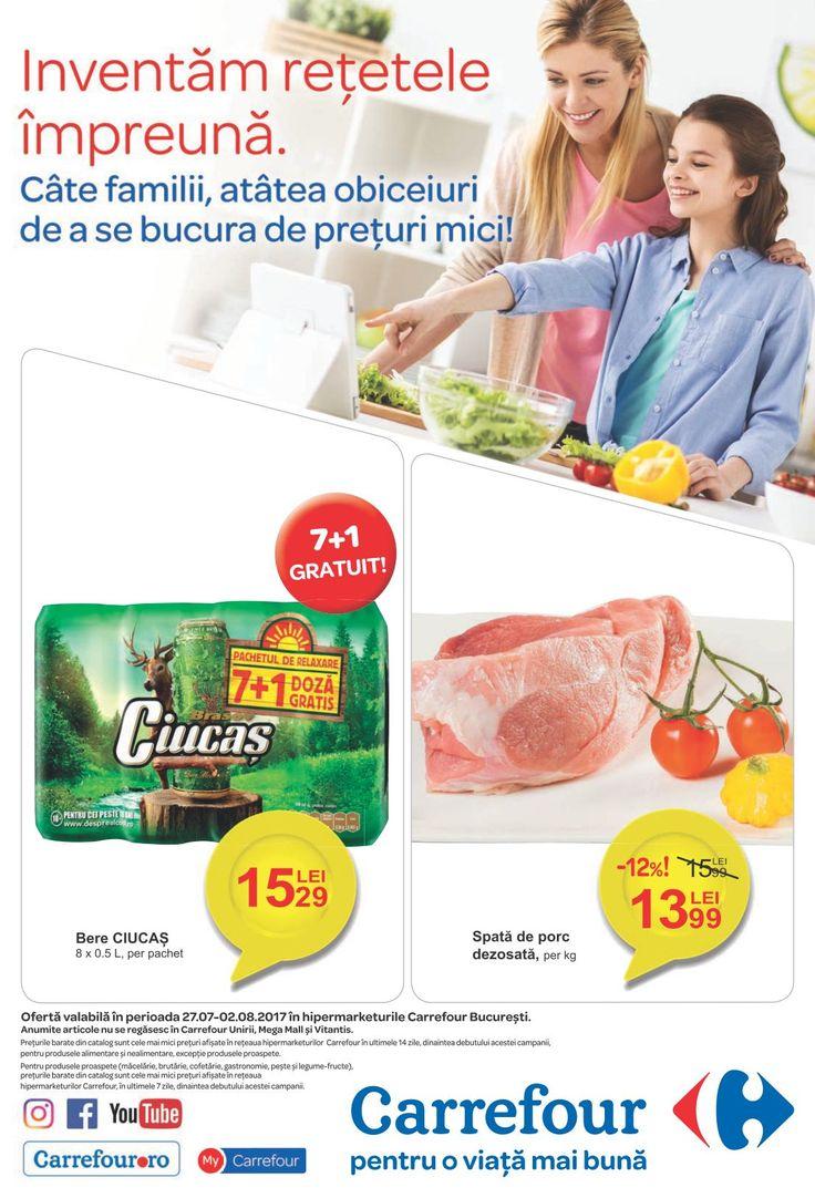 Catalog Carrefour Alimentar 17 Iulie - 02 August 2017! Oferte: spata de porc dezosata 13,99 lei; rasol si piept de manzat 16,99 lei; sfecla rosie 0,99 lei