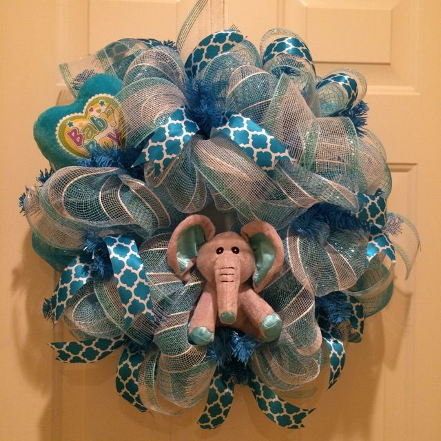 Baby Boy Wreath With Elephant Theme In Blue And White With