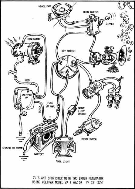 Image result for SIMPLE HARLEY CHOPPER GENERATOR 6V    wiring diagram      1951 WL   Chopper