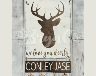 Deer / Hospital Door Hanger / Welcome Baby / Baby Boy / Birth