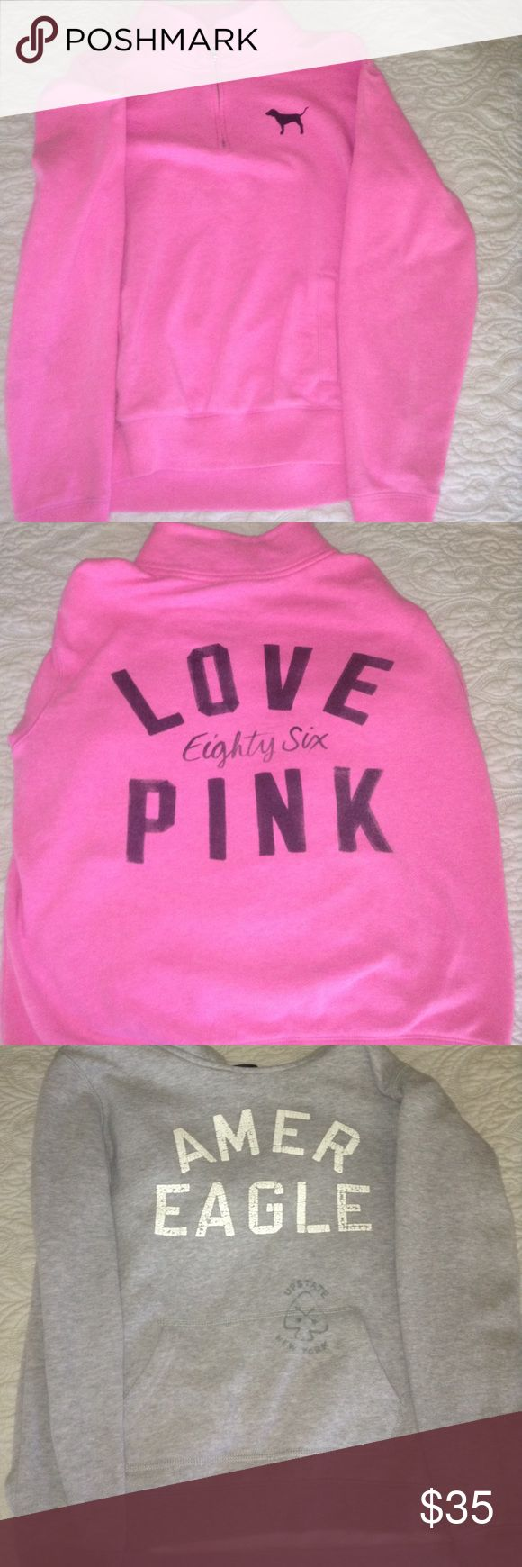 A pink PINK and grey American eagle sweatshirts! The first one is pink with black writing  with a zip up collar. And the second one is grey with white writing and a collar. Other