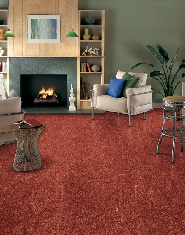 Great Armstrong Linoleum Flooring, Marmorette, Firebird Red. Living Room ...