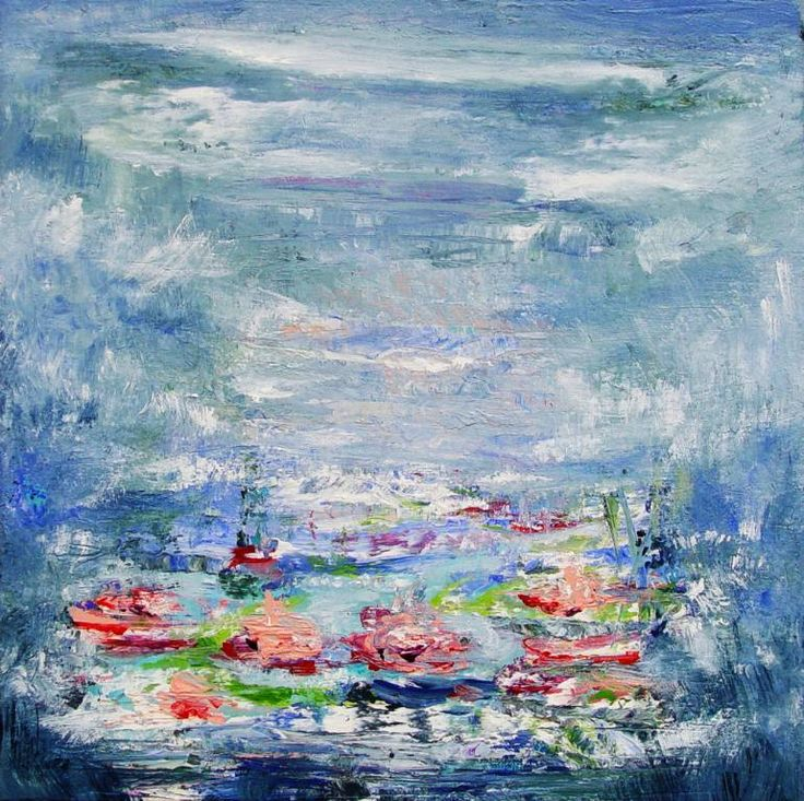 Buy HM173, a Acrylic on Canvas by Radek Smach from Czech Republic. It portrays: Landscape, relevant to: blue, water, expresionism, monet, impresionism, abstract, landscape, lilies Original abstract layered painting on canvas.  Ready to hang. No framing required (it can be framed).