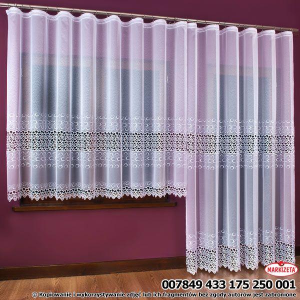 Urocza #haftowana_firanka. Haft wykonano na białej markizecie. Umieszczono go w w formie pasa w dolnej części firanki. Dół obszyto gipiurą. Firanka dobrze przepuszcza powietrze i światło.Firankę można połączyć z firanką o wys.250 cm. Mamy wtedy ciekawą dekorację okna balkonowego.  wysokość: 175 cm kolor: biały materiał: markizeta z haftem i aplikacją gipiurową nie wymaga prasowania Możesz zlecić szycie w naszej profesjonalnej szwalni ceny już od 2,50 zł/mb.  kasandra.com.pl
