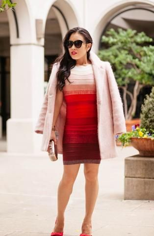 Cute & Little Blog is gorgeous in this Ombre Red Bandage Dress