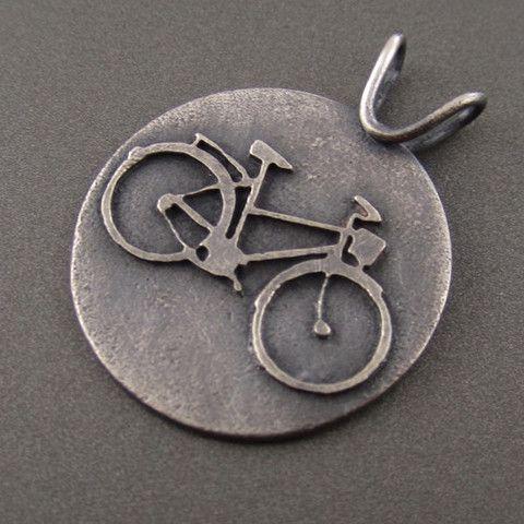 Standard Darkened Silver Bike Lovers Pendant – Beth Millner Jewelry