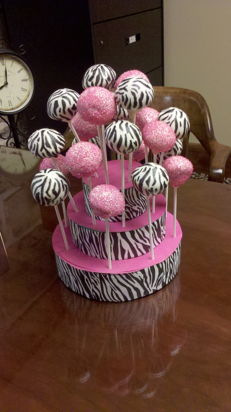 Zebra and hot pink cake pops