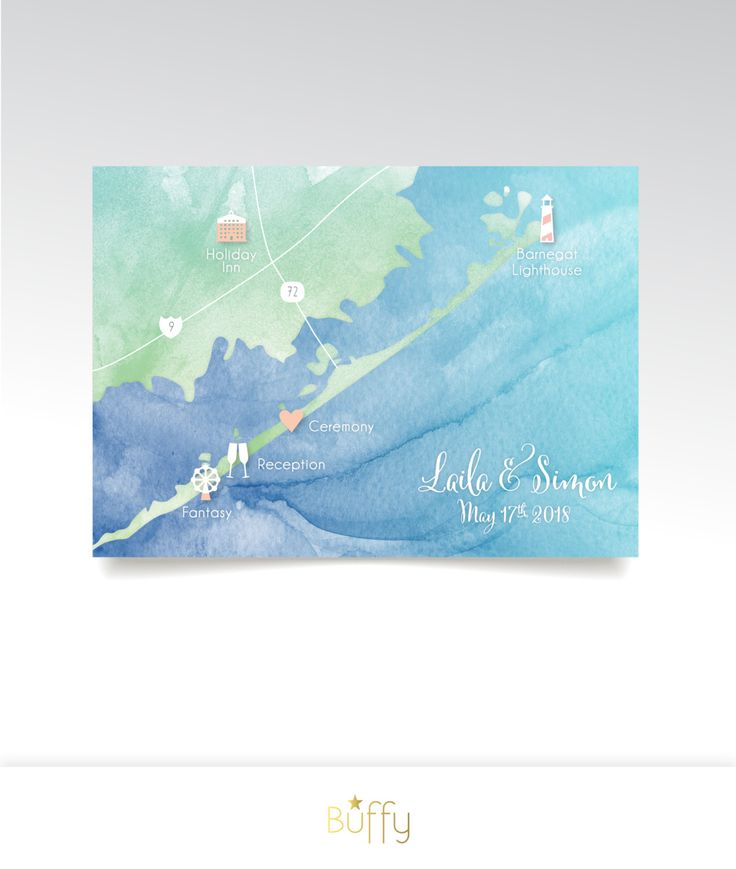 wedding reception directions card%0A Lake Michigan Custom Wedding Map  u     Directions      x     in Square Printed  Card   Same Sex Gay Rainbow Watercolor Calligraphy