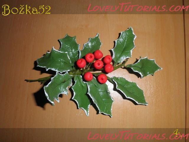 Рождественская ветка -gumapste American Holly - Мастер-классы по украшению тортов Cake Decorating Tutorials (How Tos) Tortas Paso a Paso