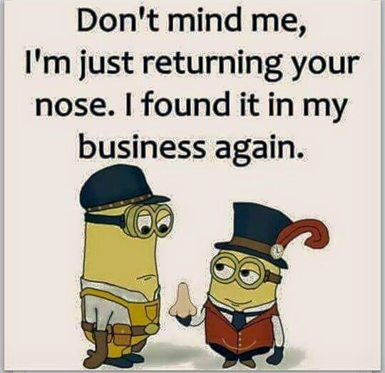 Don't mind me, I'm just returning your nose. I found it in my business again.
