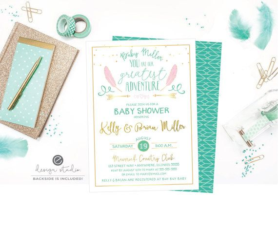 You Are Our Greatest Adventure Baby Shower Invite, Baby Shower Invitation, Mint Green Baby Shower, Gold Glitter Baby Shower