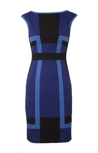 Karen Millen Graphic Colour Block Dress Blue and Black ,fashion karen millen outlet