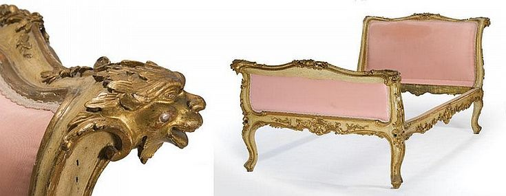 Importante letto in legno scolpito, dorato e