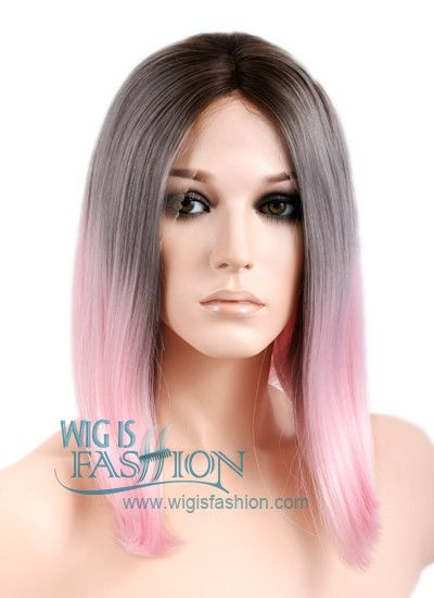 """10-20"""" Short Straight Brown Grey Pink Mix Lace Front Synthetic Wig"""