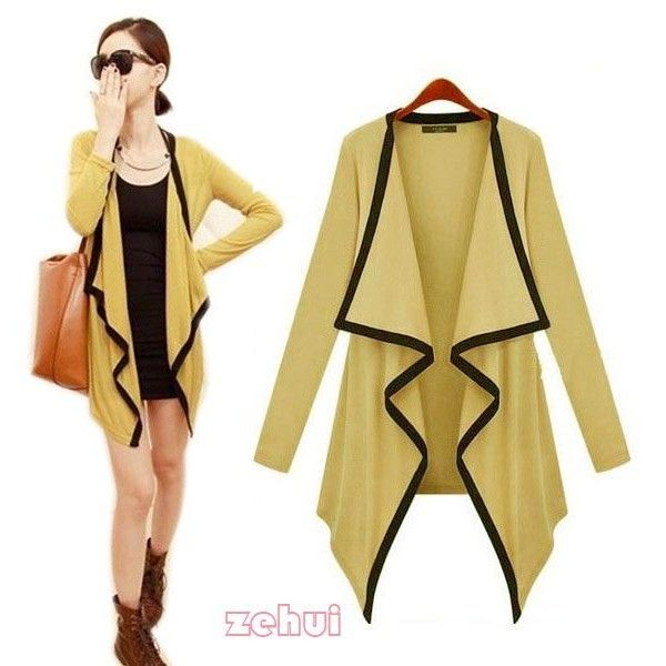 New Yellow Ladies Knits Blazer Cardigan Coat Cape Open Solid Long Bolero Style Long Sleeve CY0285Y found on Polyvore