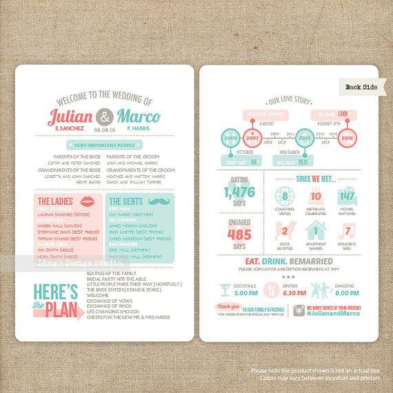 Infographic Wedding Program | Printable or Printed