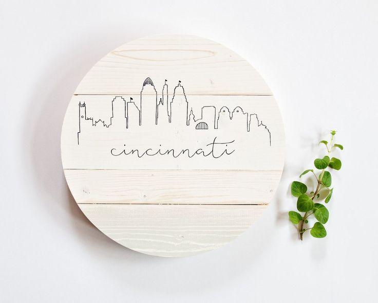 Cincinnati Skyline :: Round Wood Sign