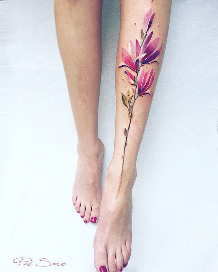 Crimean artist Pis Sarotakes inspiration from hertravels and innate fascination with nature to create her soft and dreamlike tattoo designs.